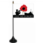 Lest We Forget Navy Desk / Table Flag with plastic stand and base